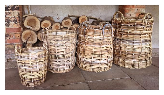 rattan wicker baskets by Emily Readett-Bayley