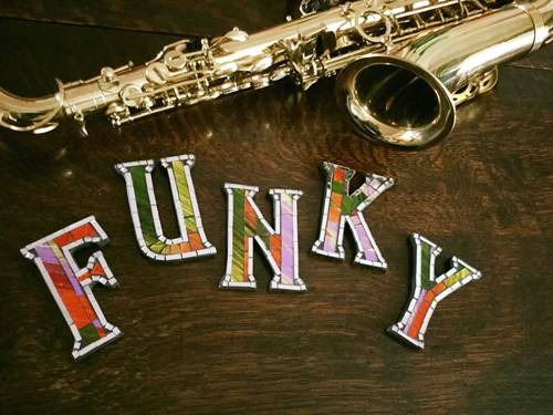 funky jazz mosaic Letters