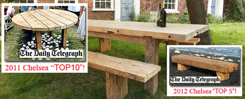 teak tables best in show at Chelsea Flower Show