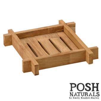 POSH Salvage Large Square Bamboo Soap Dish