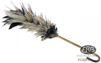 Balinese Cockerel Feather Duster on a Bamboo Stick