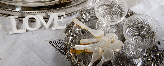 POSH Salvage Hand Cut and Polished Mother of Pearl Tableware