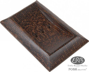 Hand Polished Sago Palm Wood Rect SoapDish13x8.5cm