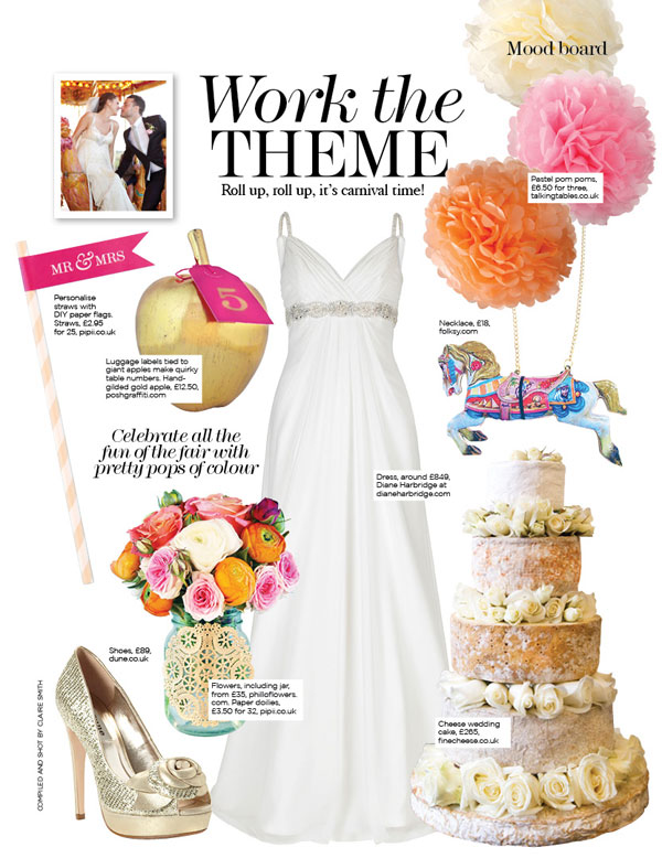 You & Your wedding - July '13 -A  17cm Gold apple was used on a carnival themed mood board
