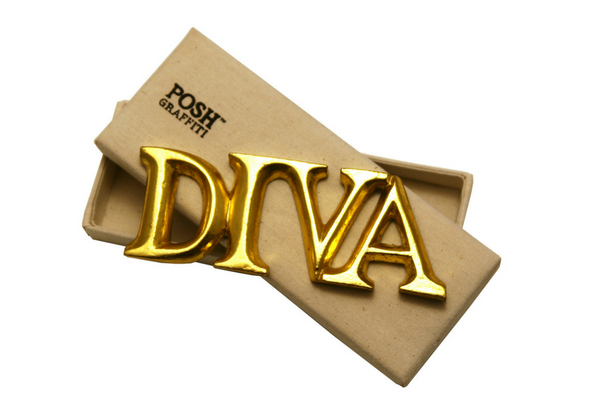 Wooden Word 'DIVA' in a Box. Gold 6cm