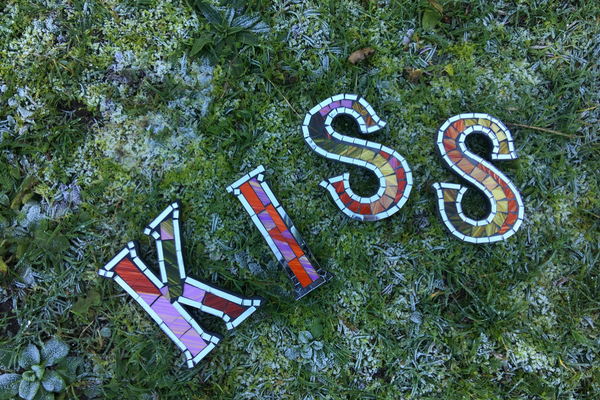 kiss: Funky Handmade Glass Mosaic Letters by Emily Readett-Bayley