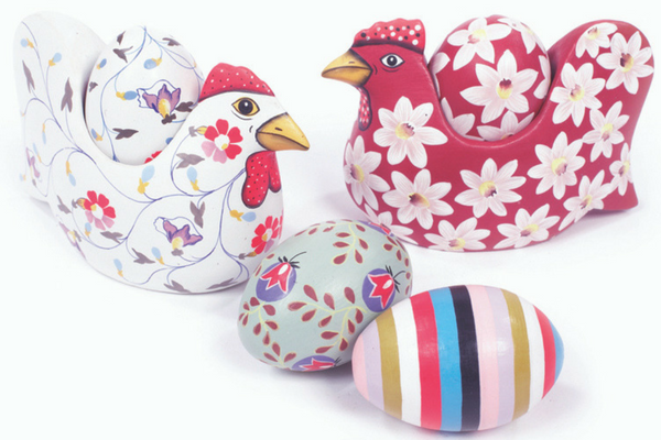 Hand painted, floral, wooden hen egg cup.