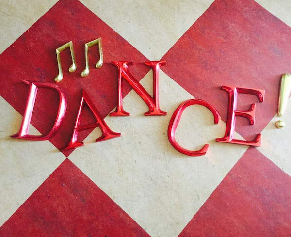 DANCE red wooden letters, 23cm.