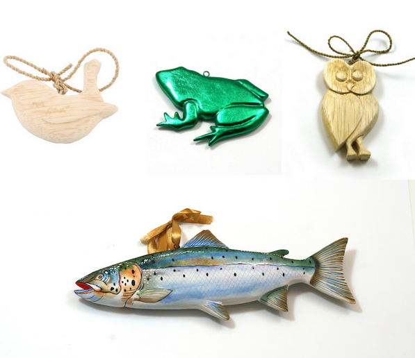 Hand carved wooden decorations - great for gift tags