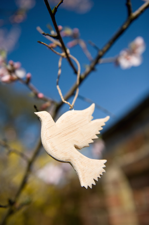 Wooden Dove of Peace on a natural string, 9cm