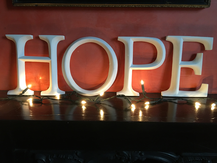 HOPE white letters