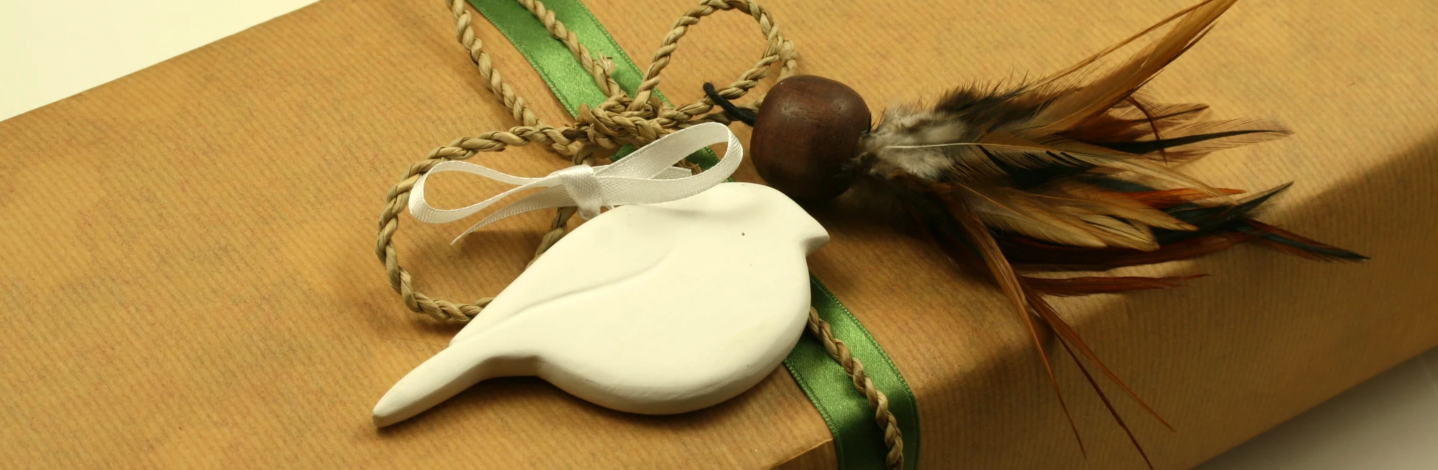 hand painted wooden robin in white