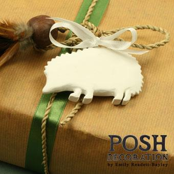 hand painted hedgehog gift tag
