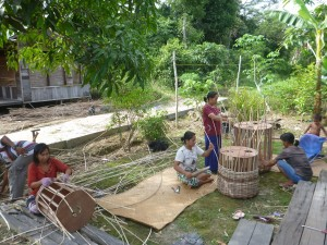 Wicker basket weaving in Borneo